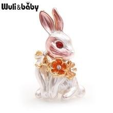 Wuli&baby Pink Rabbit Flower Wrench Enamel Brooches Women Men Alloy Rhinestone Animal Wedding Banquet Party Brooch