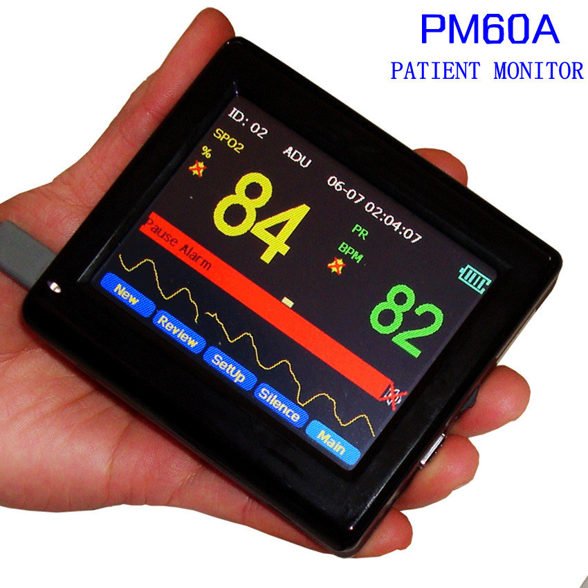 US $156 08 |CONTEC best item PM 60A SPO2 Pulse Rate Oxygen Monitor CO2  Analyzer Table Digital Finger Pulse Oximeter With Oximeter Probe-in Blood