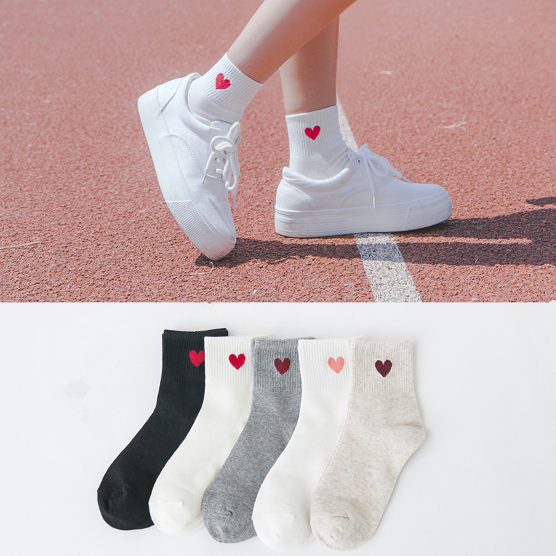 Women Harajuku Cotton College Wind   Socks   Japanese Pretty Love Red Heart Pattern   Socks   Girls Female Solid Warm Cool   Socks   Meias