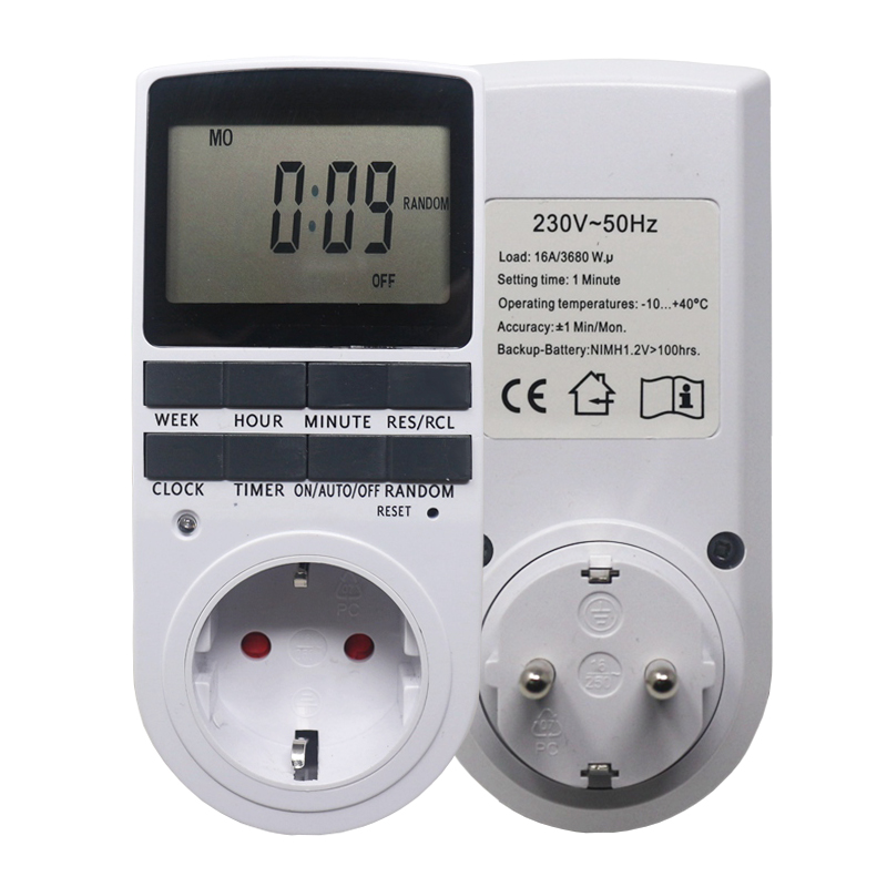 Электронный цифровой таймер, программируемый кухонный таймер 230 В 50 Гц на 7 дней 12/24 часасо штекерами EU FR BR|timer socket eu plug|timer electronichour timer | АлиЭкспресс