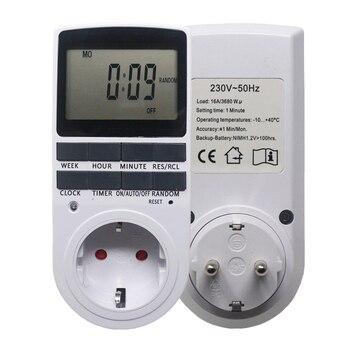 Eletrônico Interruptor Do Temporizador Tomada 230 v UE Ficha Timer de Cozinha Digital hz 50 7 Tomada de Tempo Do Dia 12/24 Horas Programável