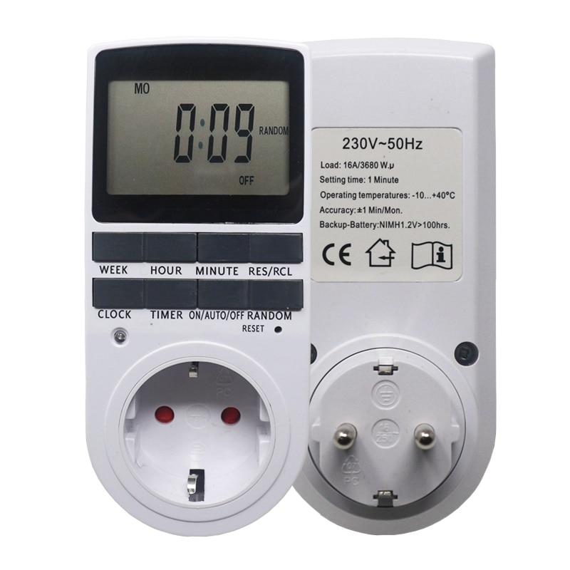 Elettronico Timer Digitale Interruttore Spina di UE Timer Da Cucina Presa di 230 v 50 hz 7 Giorni 12/24 Ore Programmabile Timing Presa