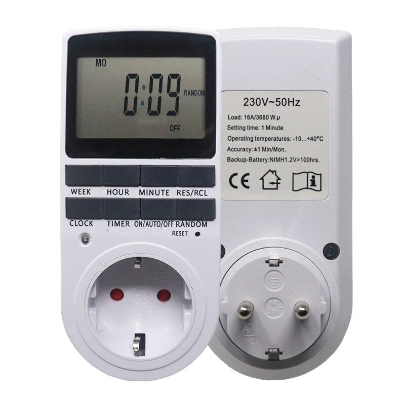 Temporizador electrónico Digital UE del interruptor temporizador de cocina salida 230 V 50Hz 7 Día 12/24 horas programable tiempo toma