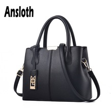 Ansloth PU Leather Handbag Women Sequined Pendant Shoulder Bag Lady Solid Color Crossbody Bag And Handbag Female Tote HPS612