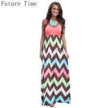 2017 Hot Sexy Women Dress o-neck Striped Print Maxi dress vestido casual Long Dress Sleeveless Beach Summer Dress Sundress C0961