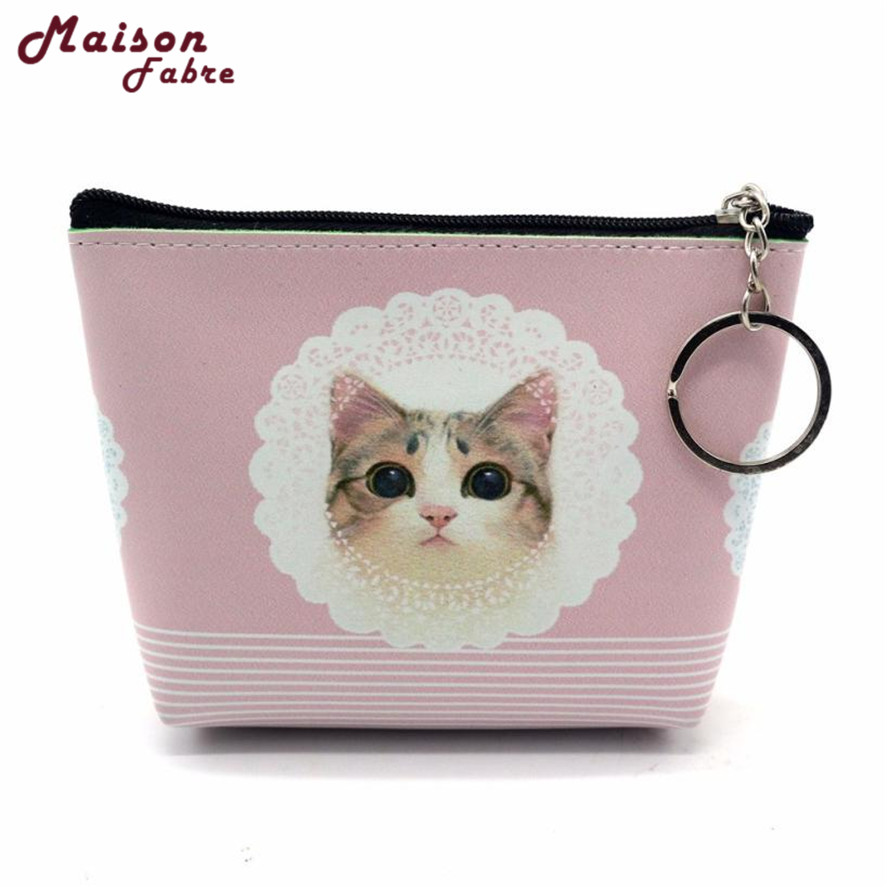 New Mini Coin Purses 1pc Portable Cartoon Cat pattern Women Girls Lady Leather Small Wallet Coin Purse kids small Clutch Bag