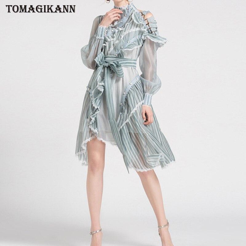 Sexy Organza femmes robe transparente 2019 rayé dentelle boucle à volants croix épaule ceinturée robes col roulé à manches longues robes