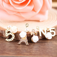 New Arrival Mini Order 4 Sets 16PCS Assorted Resin Flowers Decorated Alloy DIY Jewelry Charms Gold