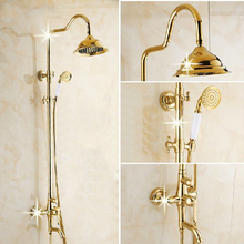 цена на Foyi brand prime quality Luxury Wall Mounted Rain Shower Faucet Mixer Tap Antique Brass Bath Shower Set