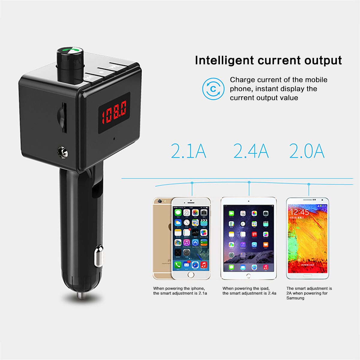 Image 3 - B36 Wireless Car Kit Bluetooth Aux interface MP3 Player Rotatable Bluetooth ual USB Ports Car Charger Intelligent Current Output-in FM Transmitters from Automobiles & Motorcycles