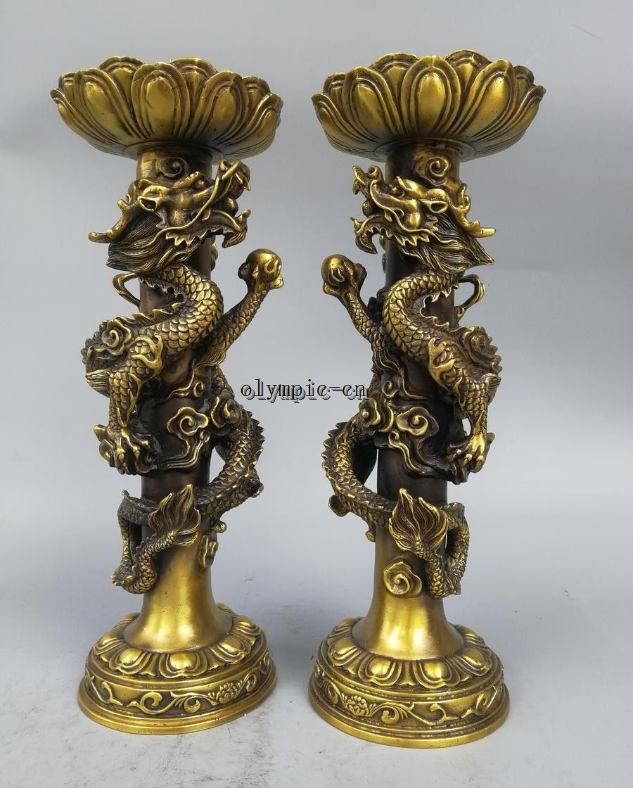 Pair 15 Brass carved consecrate Dragon Pillar Lotus candle candlestick statuePair 15 Brass carved consecrate Dragon Pillar Lotus candle candlestick statue