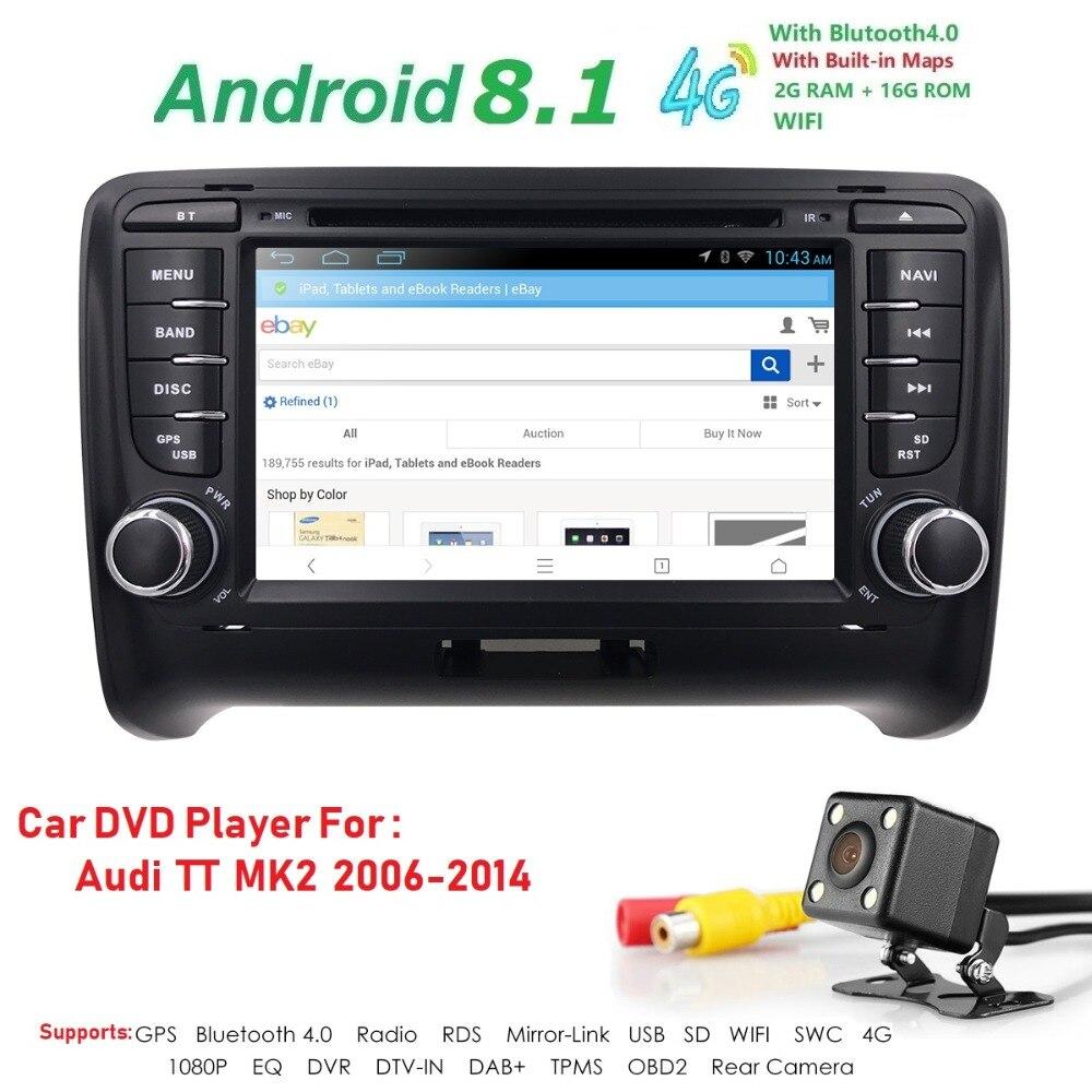 Android 8.1 HD 1024*600 voiture lecteur DVD Radio pour Audi TT MK2 2006-2014 4G WIFI GPS Navigation tête unité 2 din 2 gramme DVR SWC BT