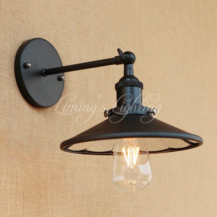 Retro Edison Wall Sconce Loft Industrial Wall Lamp Iron Mirror Glass Shade Vintage Wall Light Fixture Indoor Lighting Metal