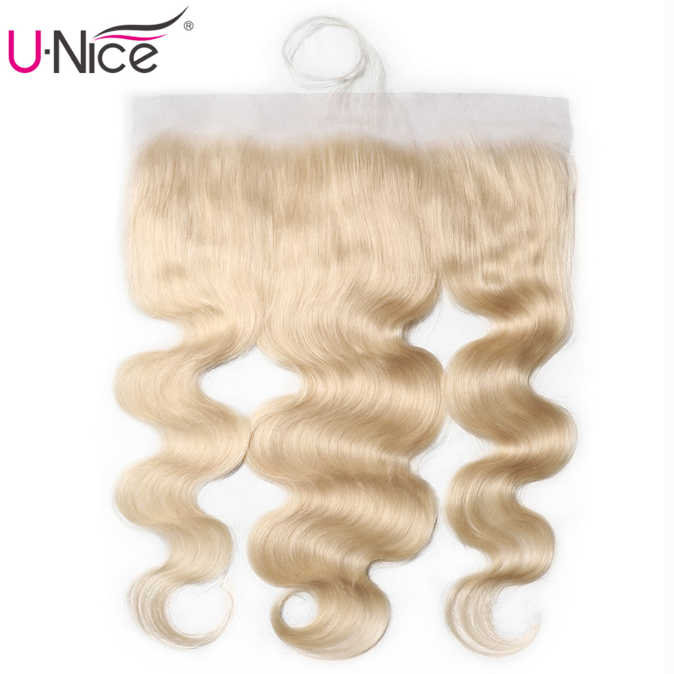 UNice Hair Brazilian Body Wave Lace Frontal #613 Blonde Free Part Ear To Ear Human Hair Lace Closure Size 13