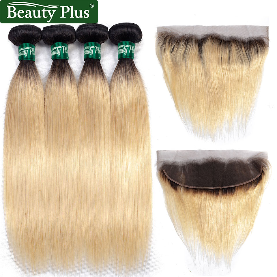 1B 613 Blonde Hair Bundles With Closure Beauty Plus Remy Human Hair Dark Roots Brazilian Straight Hair Weaves And Lace Frontals in 3 4 Bundles with Closure from Hair Extensions Wigs