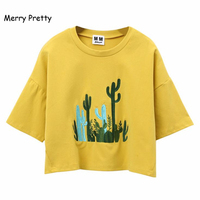 MERRY PRETTY Women Cactus Embroidery Crop Tops Short Sleeve O Neck Casual Cotton T Shirt Femme