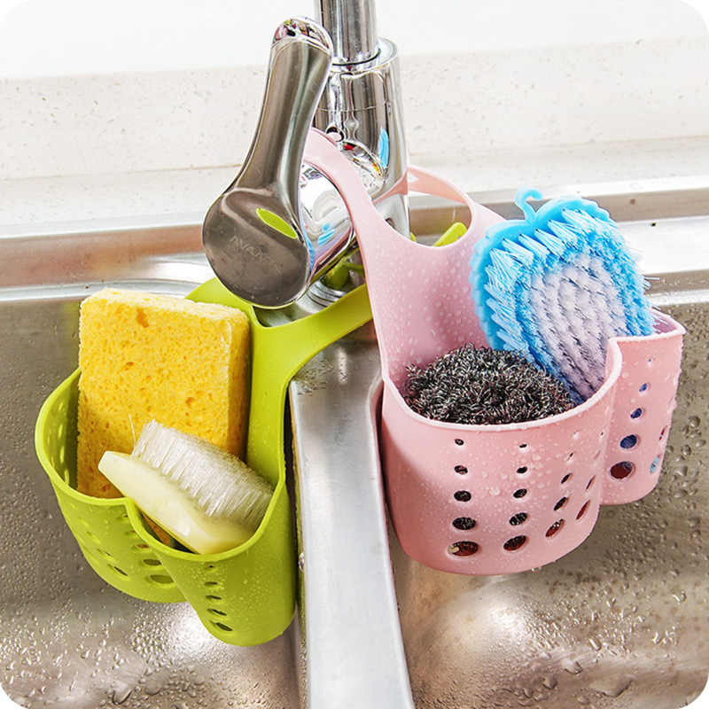 Kitchen Sink Hanging Drain Basket Adjustable Snap Button Type Drain Racks Faucet Storage Baskets Sponge Soap Bathroom