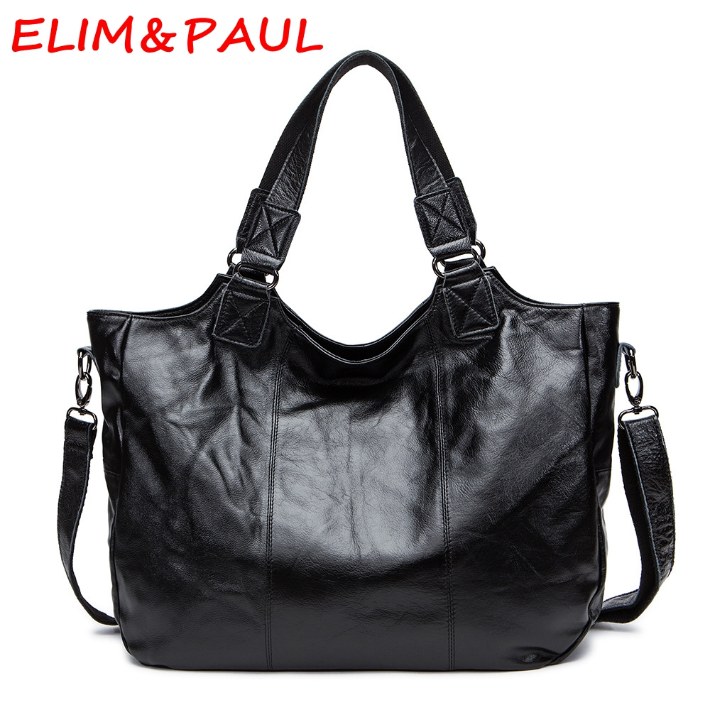 ELIM&PAUL Genuine Leather Bag Luxury Handbags Women Bags Designer Handbags Silver Leather Women Shoulder Bags Ladies Hand bags elim