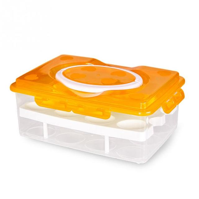 Two Layer 24 Eggs Plastic Food Chicken Egg Holder Storage Portable