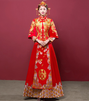 8f84e436f Boda cheongsam chino tradicional vestido de novia antiguo matrimonio traje ropa  bordado phoenix Qipao rojo