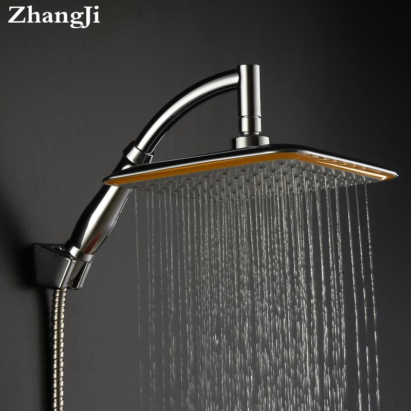ZhangJi 20cm Square Rainfall Shower Head 8 Top Shower ABS Chrome Waterfall Top Spray Silicon holes Shower Head with Shower Arm