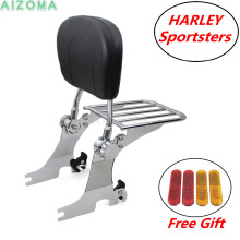 Motorcycle Detachable Backrest Sissy Bar Chrome Rear Luggage Rack For Harley Sportster 883 1200 XL883C XL883R XL1200C XL1200S