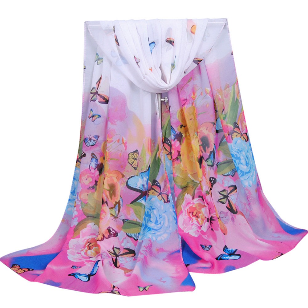 Fashion Women Long Print   Scarf     Wrap   Ladies Shawl Large Silk   Scarves   Butterflies Hijab Scarfs Summer Shawls Female   Wrap