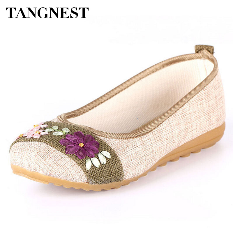 Tangnest Casual Flower Flats 2017 Autumn Women Hemp Shoes Slip On Ballet Flats  Shallow Shoes Woman Plus Size 35~40 XWD4221 jingkubu 2017 autumn winter women ballet flats simple sewing warm fur comfort cotton shoes woman loafers slip on size 35 40 w329