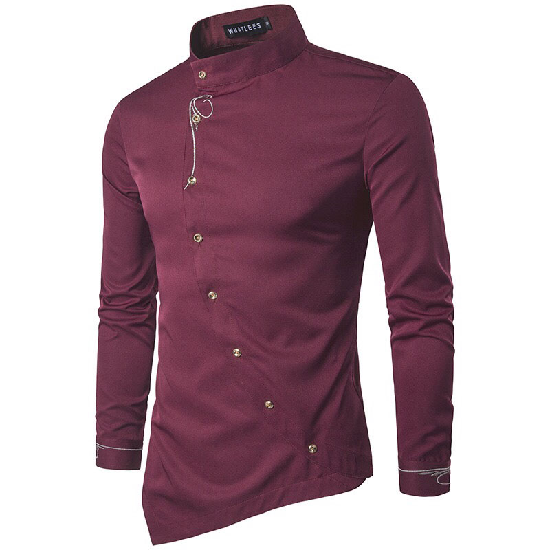 Oblique Button Irregular Formal Casual Shirt Men Solid Embroidery Stand Collar Top Slant Open High Neck Shirt For Men Black Blue