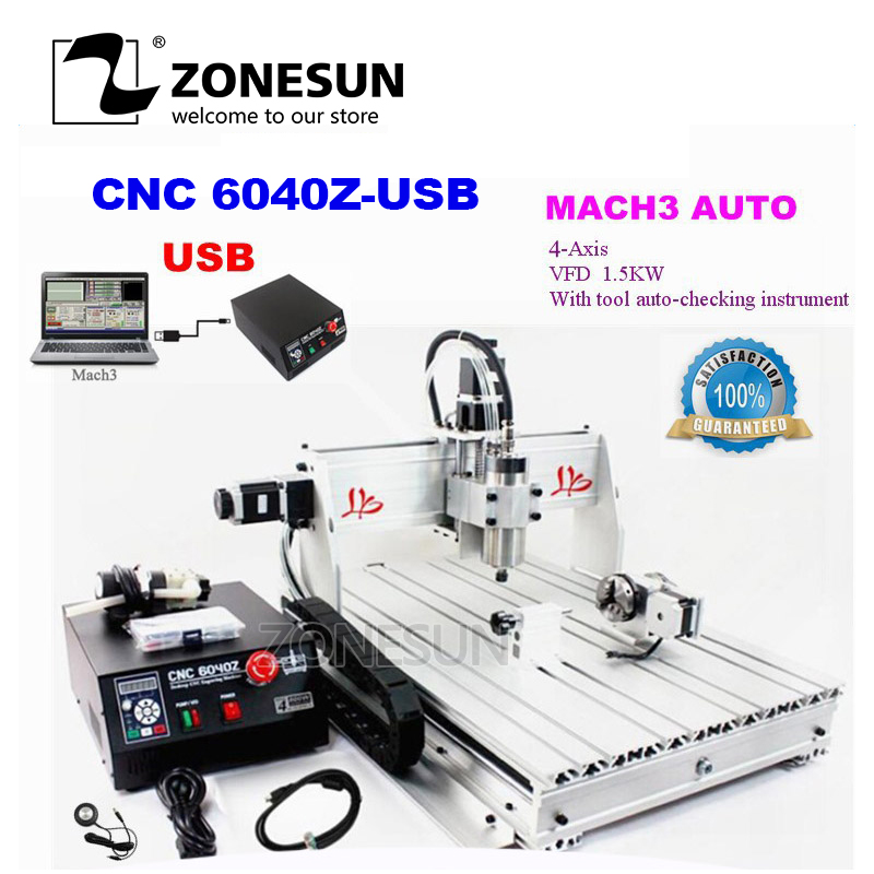 ZONESUN IncludeTax To Russia! CNC Router 6040Z-USB 4 Axis Mach3 Auto Engraving Machine USB interface With 1.5KW VFD SpindleZONESUN IncludeTax To Russia! CNC Router 6040Z-USB 4 Axis Mach3 Auto Engraving Machine USB interface With 1.5KW VFD Spindle