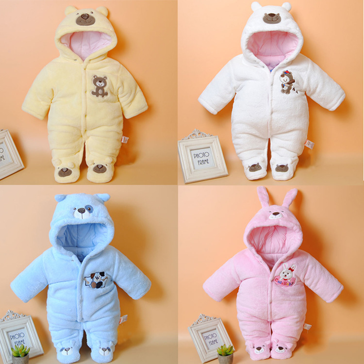 0-12M Winter baby boys baby girls clothes Cute Cartoon animal Baby Rompers Coral cashmere Unisex  NewBorn Baby clothing set cotton baby rompers set newborn clothes baby clothing boys girls cartoon jumpsuits long sleeve overalls coveralls autumn winter