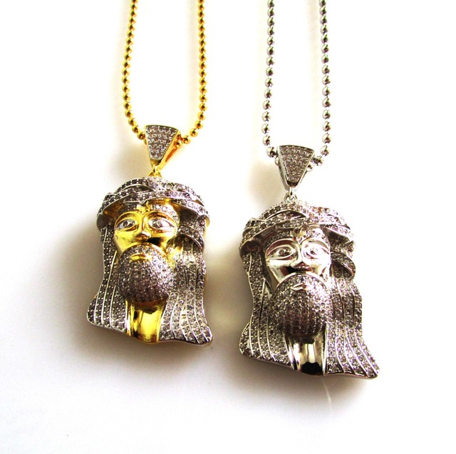 2016 hip hop bling jewelry,iced out king mens luxury jewelry cool jesus head pendant necklace with bead chain