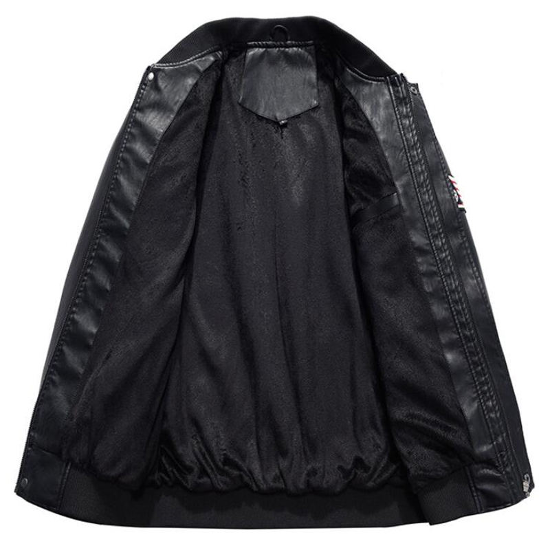 Hommes mode broderie 4XL moto vestes PU cuir veste hommes nouvelle marque printemps automne col montant Baseball en cuir manteau - 3