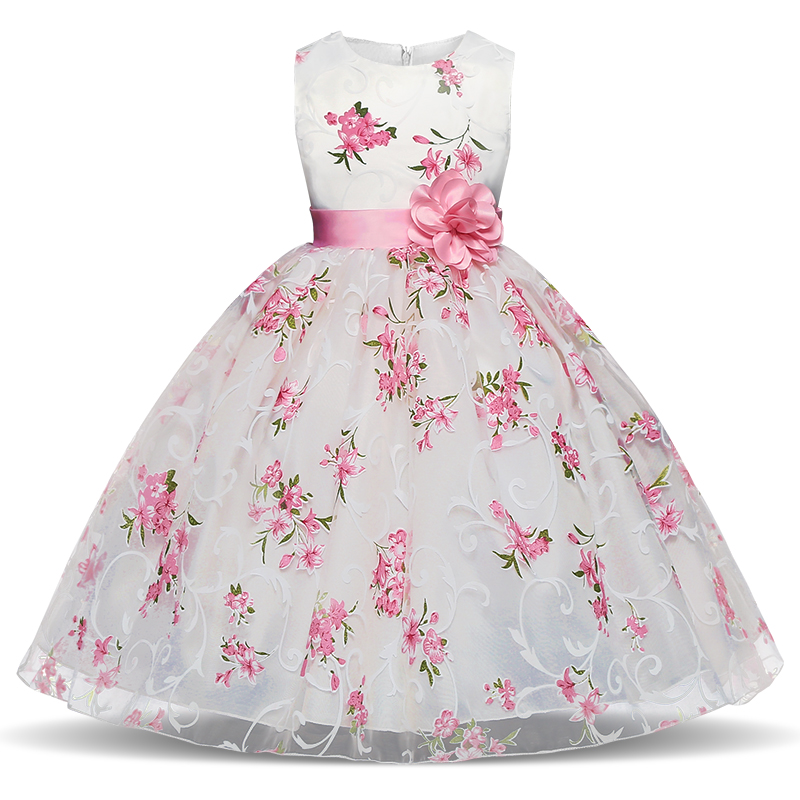 New Style Summer Baby Girl Print Flower Girl Dress for Wedding Girls Party Dress with Flower Sash Floral Dress for 4-10 Years 2016 new style kids infant baby girl flower girl dress for wedding girls party dress with big bow lace dress for 3 8years