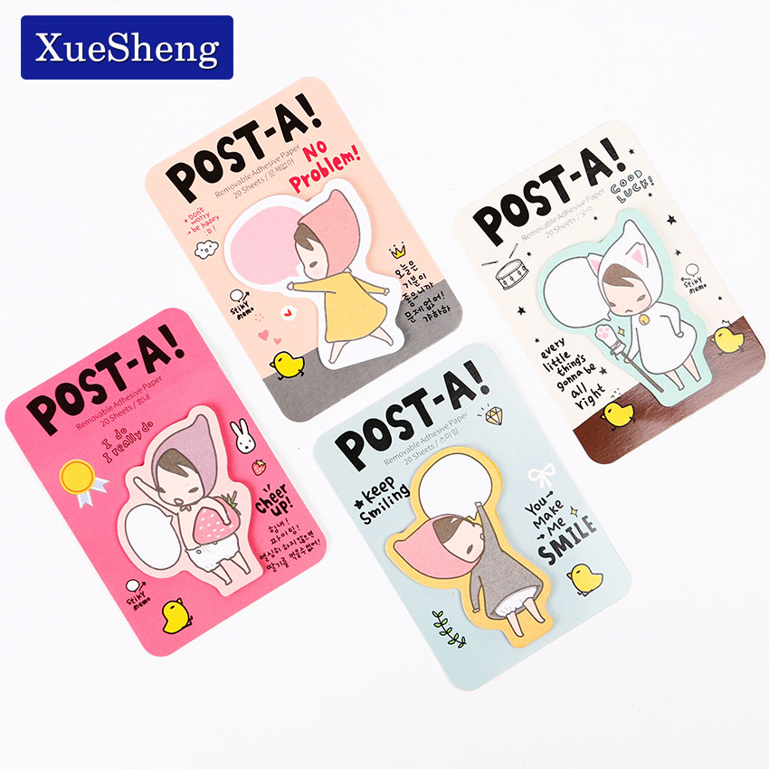 6PCS Cute Girl Sticky Notes Removable Adhesive Paper Memo Pas