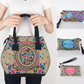 Hmong New Original National Vintage ethnic style embroidery embroidered Handbag +Coin Clutch Long Wallet 2pcs/lot