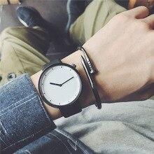 2017 Nouveau mode minimaliste hommes de montres BGG version Coréenne simple casual quartz en cuir noir montre hommes horloge étanche