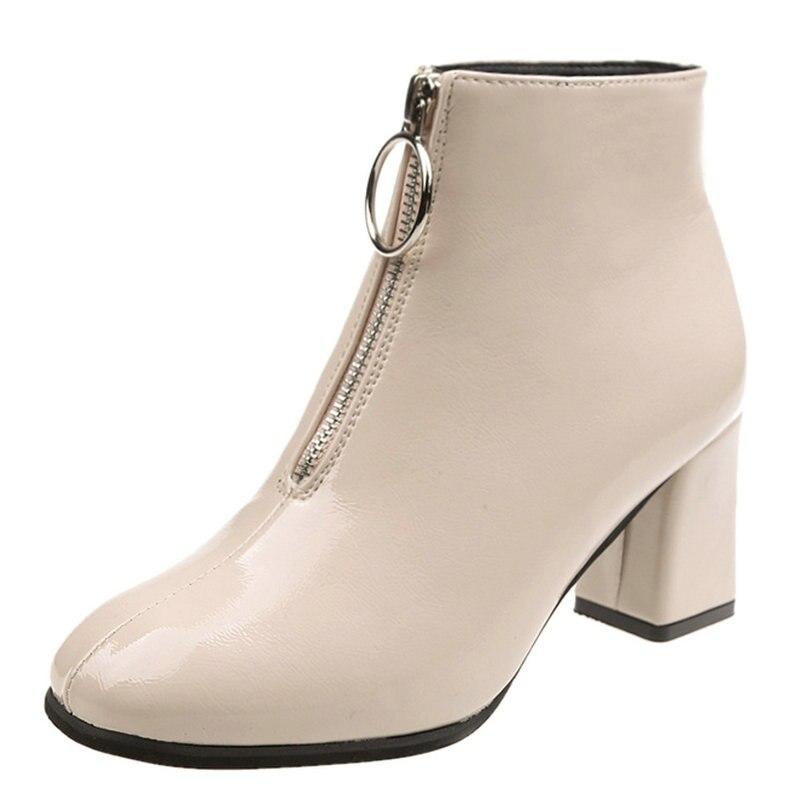 f6abcbd7c5 Mulher Alto Feminino Escritório Sapatos Botas Outono 2018 Chuva Clássicas  De Jeans Tornozelo Impermeável Zíper preto ...