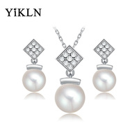 YiLKN New Design Classic Simulated Pearl Austrian Crystal White Gold Color Earrings & Necklaces Bridal Jewelry Sets L2070240790