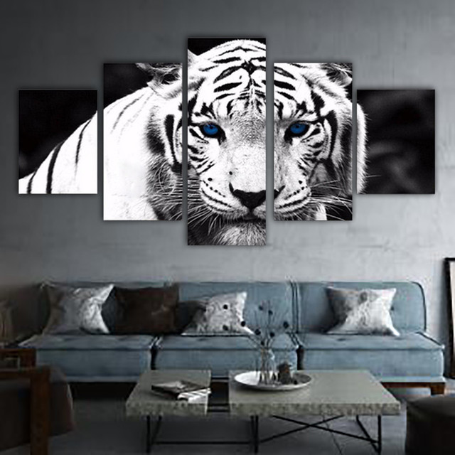5 Piece Canvas Art Tiger Picture Poster Wall Pictures For Living Room Modular Painting HD Print Canvas Oil Painting Home Decor