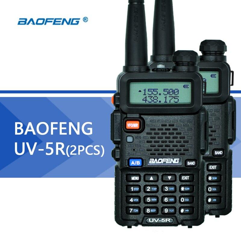 2 pcs Baofeng UV-5R Talkie Walkie UHF VHF Double Bande UV5R CB Radio 128CH lampe de Poche Double Affichage FM Émetteur-Récepteur pour chasse Radio