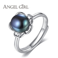 Angel Girl New Arrival 100 Real 925 Sterling Silver Ring With Big Black Gray Pearl Trendy