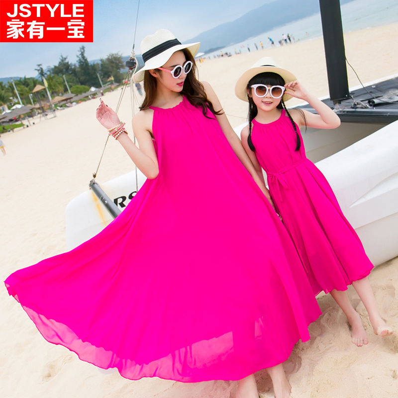 Summer 2016 new parents Han edition big yards Bohemia and chiffon dress beach full skirted dress
