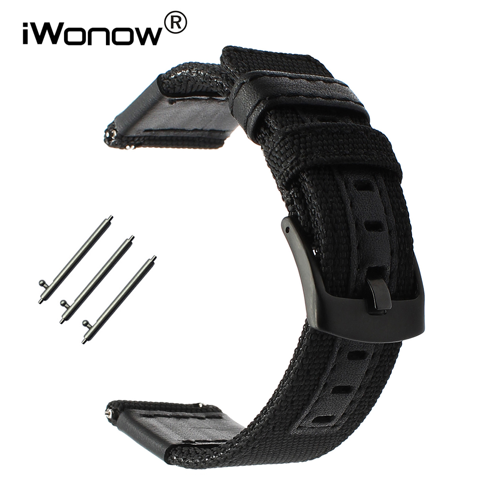 20mm Genuine Nylon + Leather Watchband for Garmin Vivomove Huawei Watch 2 Sport Bradley Timepiece Quick Release Band Wrist Strap genuine leather watchband 20mm black brown replacement leather wristband for garmin vivomove apac strap