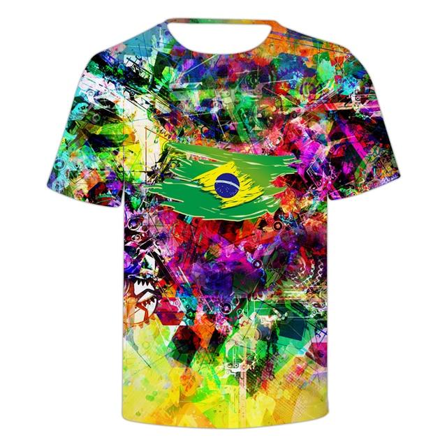 90abc3debc9fdc Hot New Tie Dye Style Brazil National Flag Printed Men Women Patriotic T  shirts Funny Men Summer Slim Fit Short Sleeve Clothing