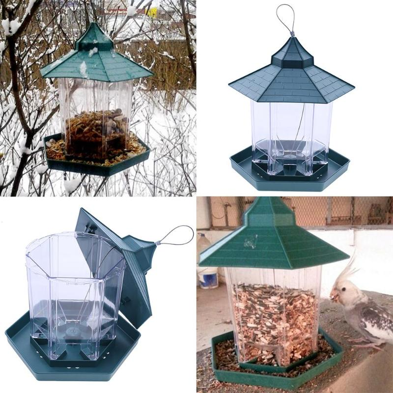 Pabellón verde alimentador de pájaros de plástico contenedor de alimentos para pájaros al aire libre alimentador de aves resistente al agua suministros para mascotas decoración de jardín