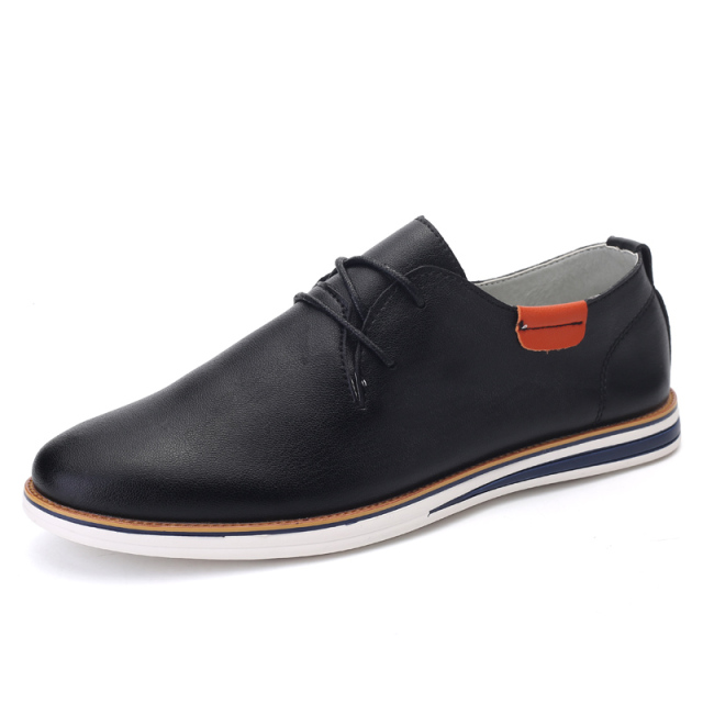New 2016 Men's Leather Shoes High Quality Casual Leather Lace-up Black Sleek Leather Moccasins Oxford Shoes Zapatillas Hombre