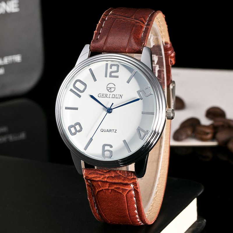 Luxe Herenhorloge Echt leer Fashion Casual Quartz Polshorloge - Herenhorloges - Foto 2