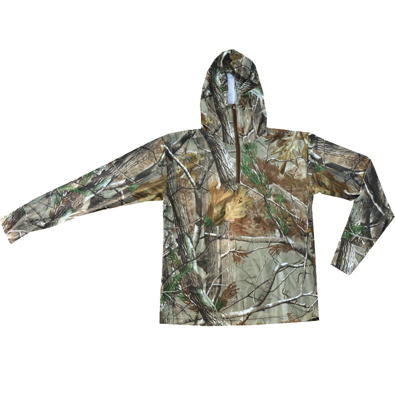 Summer Ultra-Thin Quick-Drying Bionic Camouflage T-Shirt Tops Male Hunting Fishing Hiking Sunscreen Hooded T-Shirts Long Sleeve 2