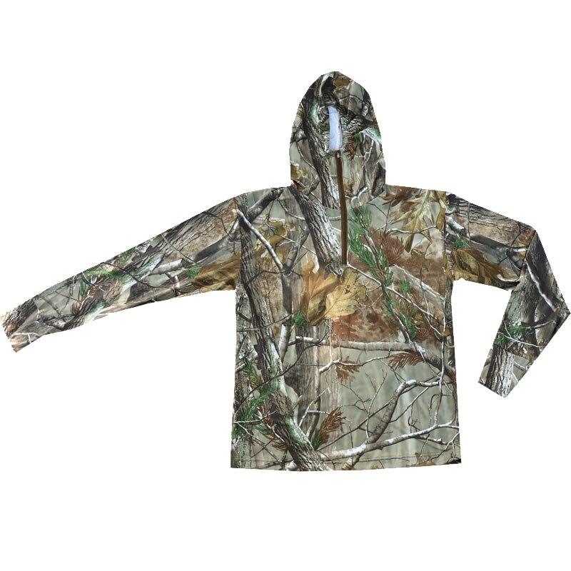 Summer Ultra-Thin Quick-Drying Bionic Camouflage T-Shirt Tops Male Hunting Fishing Hiking Sunscreen Hooded T-Shirts Long Sleeve 2